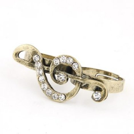 Vintage Musical  Note Crystal Double Ring