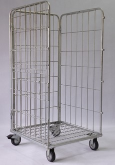 Popular Zinc plated warehouse steel roll cage trolley